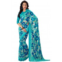 Paaneri Designer Turquoise Color Flowerest Georgette Saree-Product Code-16120408906