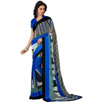 Paaneri Multicolor Georgette Saree With Satin Border Pallu-Product Code-16120409206