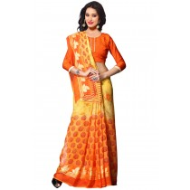 Paaneri Orange Color Flowerest Georgette Saree-Product Code-16120409306