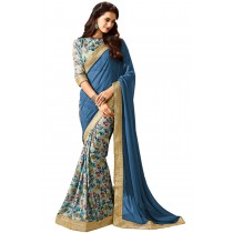 Paaneri Half n Half Multi Color Flowerest Georgette Saree Product Code-16120500207