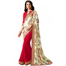 Paaneri Hallf n Half Red Color Flowerest Georgette Saree Product Code-16120500407