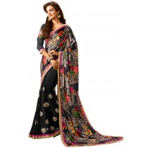 Paaneri Black Color Flowerset Georgette Saree Product Code-16120500507