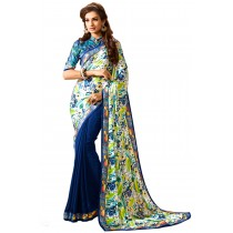 Paaneri Half n Half Navy Color Georgette Saree Product Code-16120500907