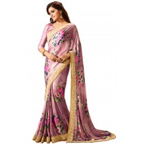 Paaneri Pink Color Flowerest Georgette Saree Product Code-16120501107