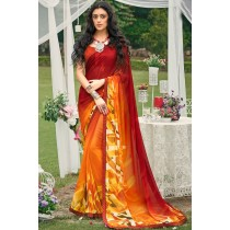 Paaneri Designer Maroon With Orange Color Georgette Printed Saree-Product Code-17120090033