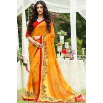 Paaneri Designer Orange Color Georgette Printed Saree-Product Code-17120090133
