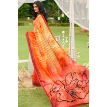 Paaneri Designer Rust Color Georgette Printed Saree-Product Code-17120090233