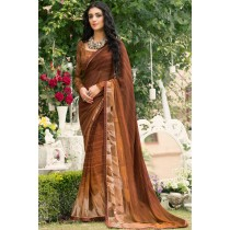 Paaneri Designer Brown Color Georgette Printed Saree-Product Code-17120090333