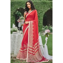 Paaneri Designer Pink With Beige Color Georgette Printed Saree -Product Code-17120090433