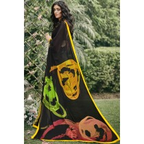 Paaneri Designer Black Color Georgette Printed Saree-Product Code-17120090833