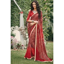 Paaneri Designer Light Brown Color Georgette Printed Saree-Product Code-17120090933