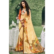 Paaneri Designer Light Gold Color Floral Print  Georgette Printed Saree-Product Code-17012091433
