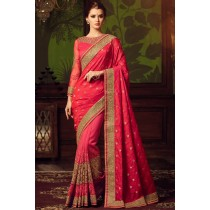 Paaneri Designer Red Color Butti Nett Saree With Silk Pallu-Product Code-17102110202