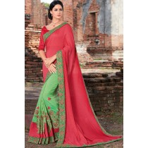 Paaneri Designer Half & Half Red With Green Color Embroidery Thread Work Georgette Saree-Product Code-17102220109