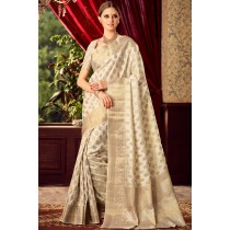 Paaneri Designer Beige Color Raw Silk Butti Saree With Rich Pallu-Product Code-17102220306