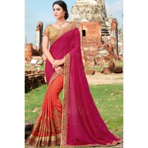 Paaneri Designer Shaded Coral With Red Color Embroidery Thread Work Jacquard With Georgette Saree-Product Code-17102220209