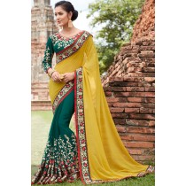 Paaneri Designer Half & Half Teal With Gold Color Embroidery Silk Georgette Saree-Product Code-17102220409