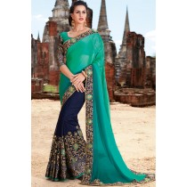 Paaneri Designer Half & Half Light Sea Green With Navy Blue Color Embroidery Georgette With Chiffon Saree-Product Code-17102220509