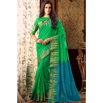 Paaneri Designer Green With Sky Blue Color Linen Silk Saree With Chit Pallu-Product Code-17102220606