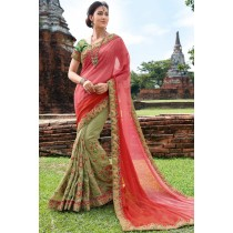Paaneri Designer Shaded Pink With Dark Sea Green Color Embroidery Georgette Saree-Product Code-17102220609