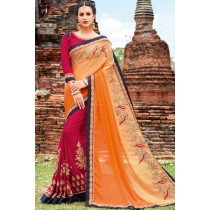 Paaneri Designer Orange With Rani Embroidery Georgette Printed Saree-Product Code-17102220709