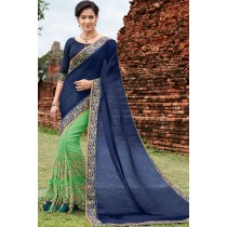 Paaneri Designer Shaded Navy Blue With Light Green Color Thread Work Silk Georgette Saree-Product Code-17102220809
