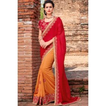Paaneri Designer Dark Orange With Red Color Embroidery Silk Georgette Saree-Product Code-17102220909