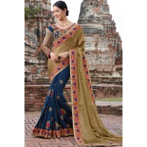 Paaneri Designer Shaded Khaki With Navy Blue Color Floral Butti Embroidery Stone Work Chiffon With Georgette Saree-Product Code-17102221009