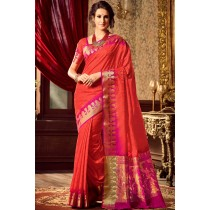 Paaneri Designer Red Color Raw Silk & Brasso Saree With Chit Pallu-Product Code-17102221306