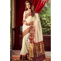 Paaneri Designer Off White Color Raw Silk & Brasso Saree With Chit Pallu-Product Code-17102221406