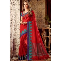 Paaneri Designer Red Color Linen Silk Saree With Chit Pallu-Product Code-17102221806