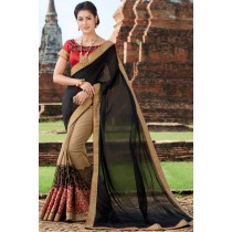 Paaneri Designer Shaded Black With Khaki Color Thread Work Silk Georgette Saree-Product Code-17102222209
