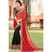 Paaneri Designer Red With Black Color Georgette Printed Saree -Product Code-17102222909