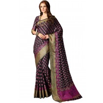 Paaneri Designer Black With Purple Color Butti Silk Saree With Rich Pallu-Product Code-17102230207