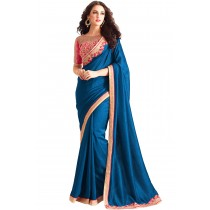 Paaneri Designer Blue Color Embroidery Border Georgette Silk Saree-Product Code-17102360108