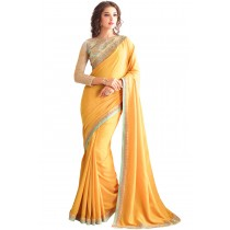 Paaneri Designer Yellow Color Embroidery Border Georgette Silk Saree-Product Code-17102360208