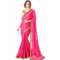 Paaneri Designer Pink Color Embroidery Border Two Tone Chiffon Saree-Product Code-17102360408