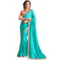 Paaneri Designer Turquoise Color Embroidery Border Georgette Silk Saree-Product Code-17102360508