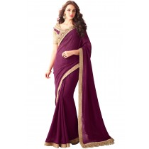 Paaneri Designer Maroon Color Embroidery Border Georgette Silk Saree-Product Code-17102360608