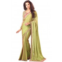 Paaneri Designer Light Green Color Embroidery Border Two Tone Chiffon Saree-Product Code-17102360708