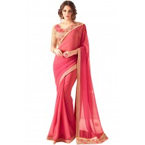 Paaneri Designer Deep Pink Color Embroidery Two Tone Georgette Saree-Product Code-17102361408