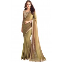 Paaneri Designer Mehndi Color Embroidery Border Two Tone Georgette Saree-Product Code-17102361608