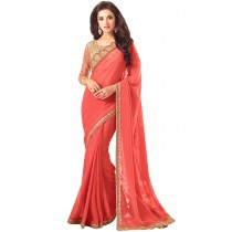 Paaneri Designer Coral Color Embroidery Border Two Tone Georgette Saree-Product Code-17102361708