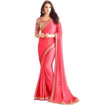 Paaneri Designer Deep Pink Color Embroidery Two Tone Chiffon Saree-Product Code-17102361808