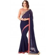 Paaneri Designer Navy Blue Color Embroidery Stone Border Premium Georgette Saree -Product Code-17102362008
