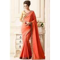 Paaneri Designer Coral Color Embrodery Border Silk Gerogette Saree-Product Code-17119400208