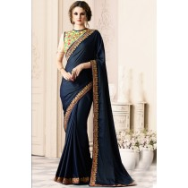 Paaneri Designer Navy Blue Color Thread Border Silk Georgette Saree-Product Code-17119400308