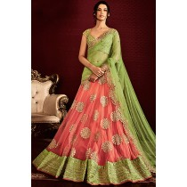 Paaneri Designer Pink Color Butti Net Embroidery Unstich Lehenga With Light Green Net Pallu-Product Code-17102505603