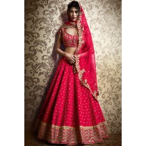 Paaneri Designer Pink Color Silk Embroidery Butti Unstich Lehenga With Net Floral Pallu-Product Code-17102506003