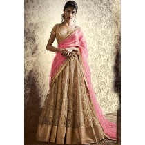 Paaneri Designer Beige Color Resham Embroidery Net Unstich Lehenga With Pink Resham Embroidery Net Pallu-Product Code-17102506503